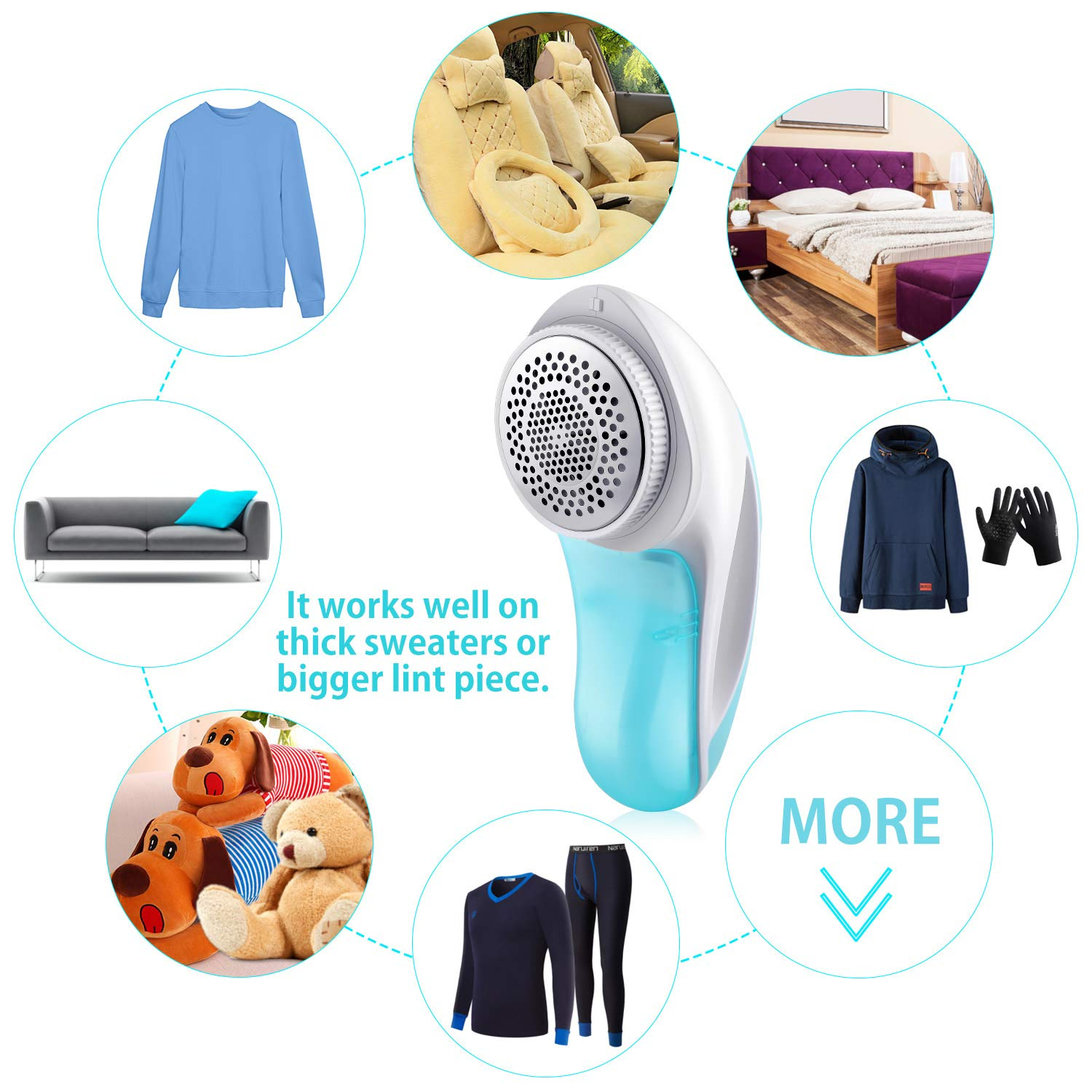 2019 Sweater Shaver Fabric Fuzz Remover, Rechargeable Pill Lint Shaver Defuzzer with USB Charging Cord, Large Shaving Head, Pilling Remover for Clothes Bobbles, Fluff, Balls by YMWVH (Image #7)