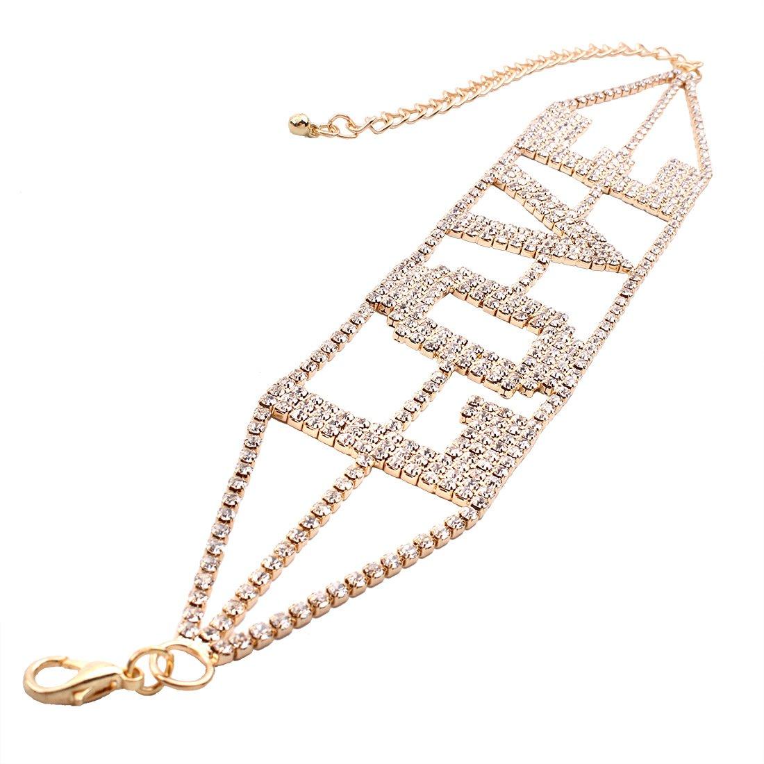 MengPa Rhinestone Choker Necklace for Women Fashion Letter Love Collar Wedding Jewelry Gold by MengPa (Image #5)