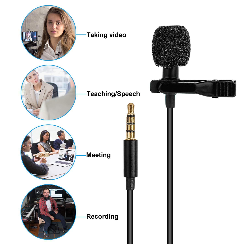 Dicci/ón de voz Podcast Videoconferencia Micr/ófono de Solapa TOQIBO Omnidireccional Lavalier Micr/ófono de Condensador con Parabrisas para Grabaci/ón Entrevista Smartphones