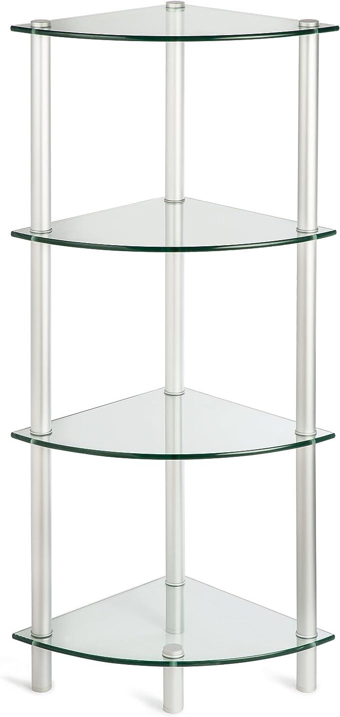 Vidrio esquina estante estantería con 4 estantes de cristal ...