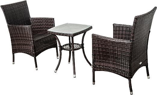 Homcom Ensemble Salon Jardin moblier de bistrot résine tressé rotin Deux  fauteuils+Une Table Basse avec Coussin crème Brun Neuf 52