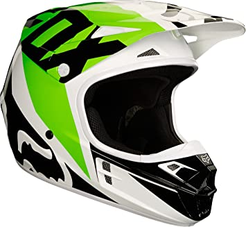 Casco Mx Fox 2018 V1 Race Blanco-Negro-Verde (Xxl , Blanco)