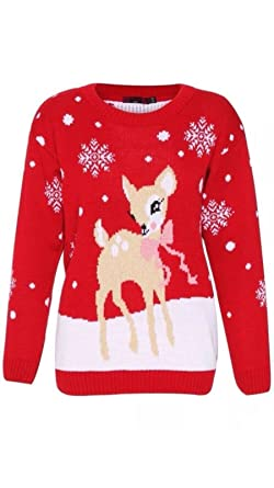 18606b0525e80 Neuf Enfants Filles Bambi Cerf Boucle Pull Noël 7-13 Ans ( S M (8-10 ...