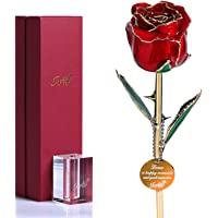 Icreer 24k Gold Dipped Eternity Rose Free Crystal Stand