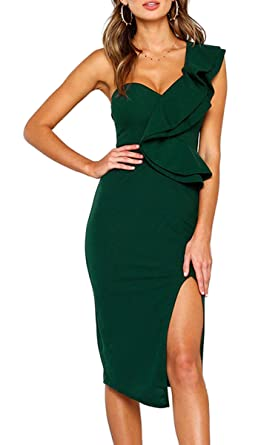195e5388d2e8 Ecowish Women's Dresses Sexy Ruffle One Shoulder Sleeveless Split Bodycon  Midi Party Dress Green S