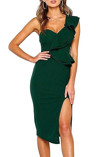 a7cb93ba0da8 ECOWISH Women's Dresses Sexy Ruffle One Shoulder Sleeveless Split Bodycon  Midi Party Dress Green S