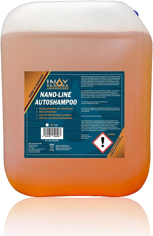 Inox Nano Line Autoshampoo Konzentrat 5l Mit Lotuseffekt Fahrzeugreiniger Wash Wax Für Glanz Schutz Auto