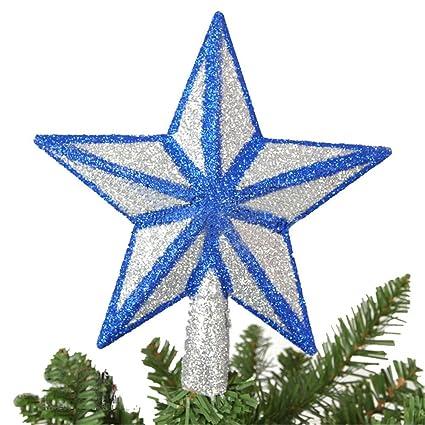 Blue Glitter Christmas Star Arbre Topper 20cm