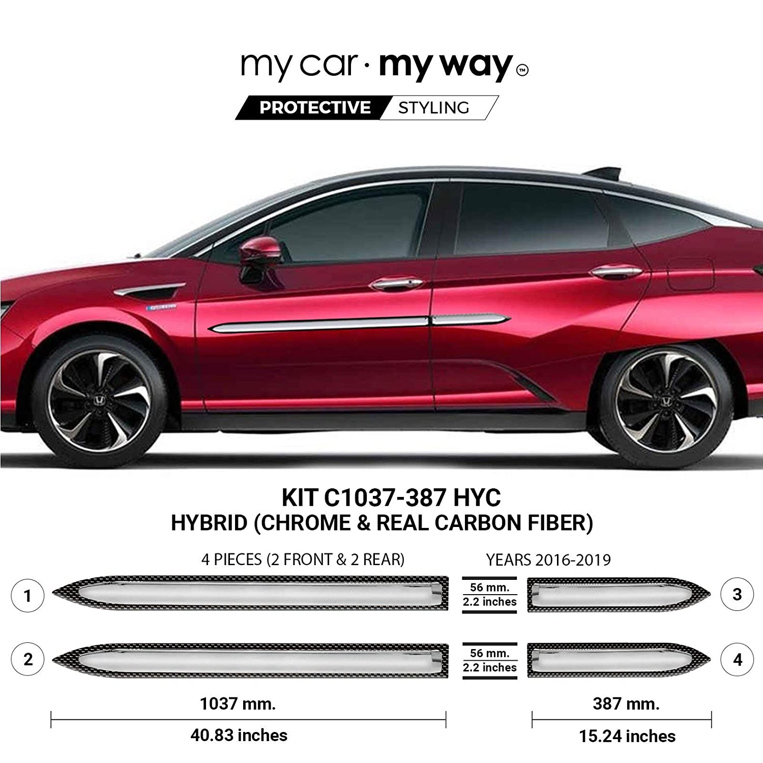 Fits MY CAR MY WAY Honda Clarity 2016-2019 Chrome Body Side Molding Cover Trim Door Protector
