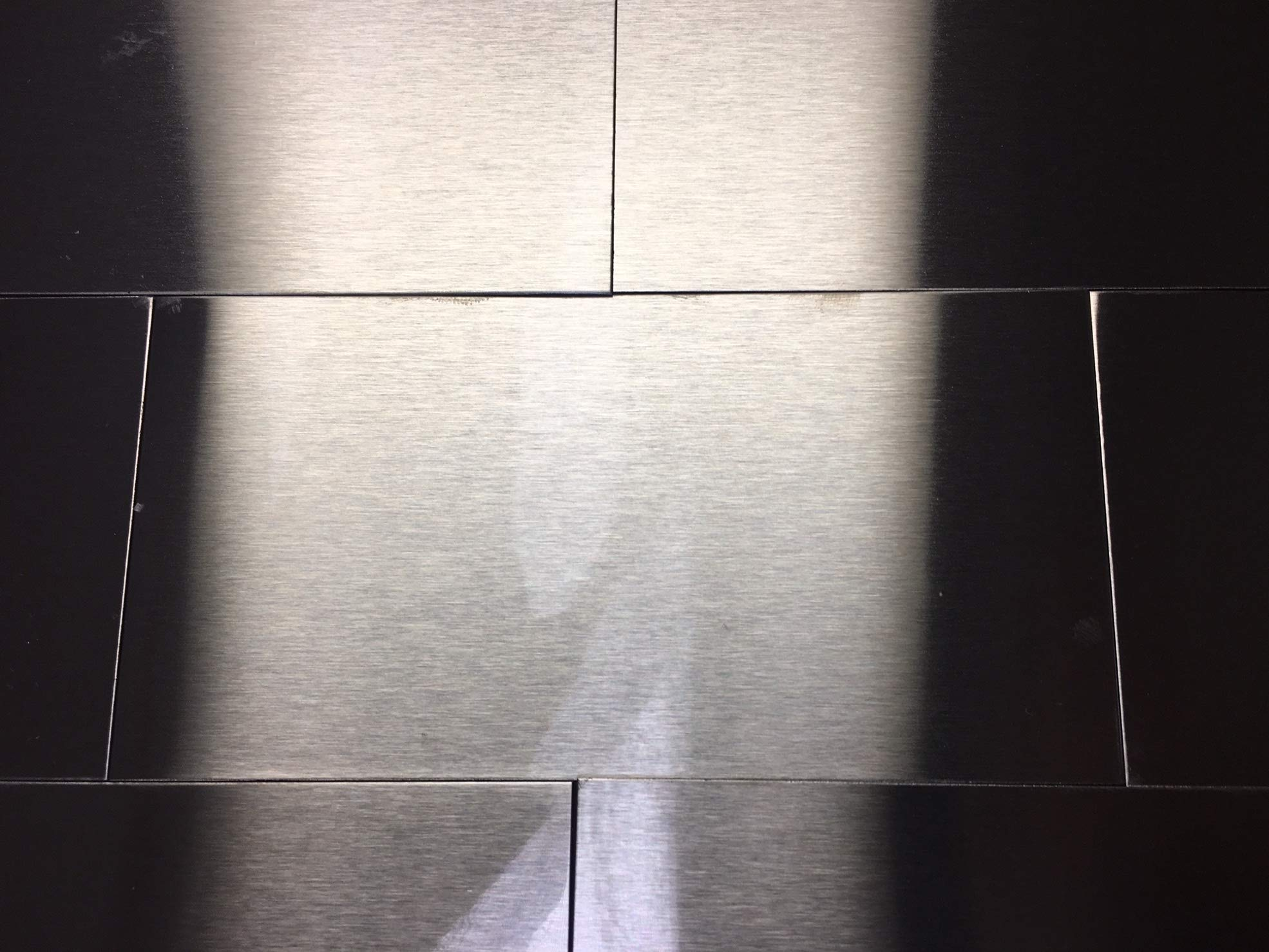 Horizontal Grain Brushed Stainless Steel Subway Wall Tiles - 100 Pieces