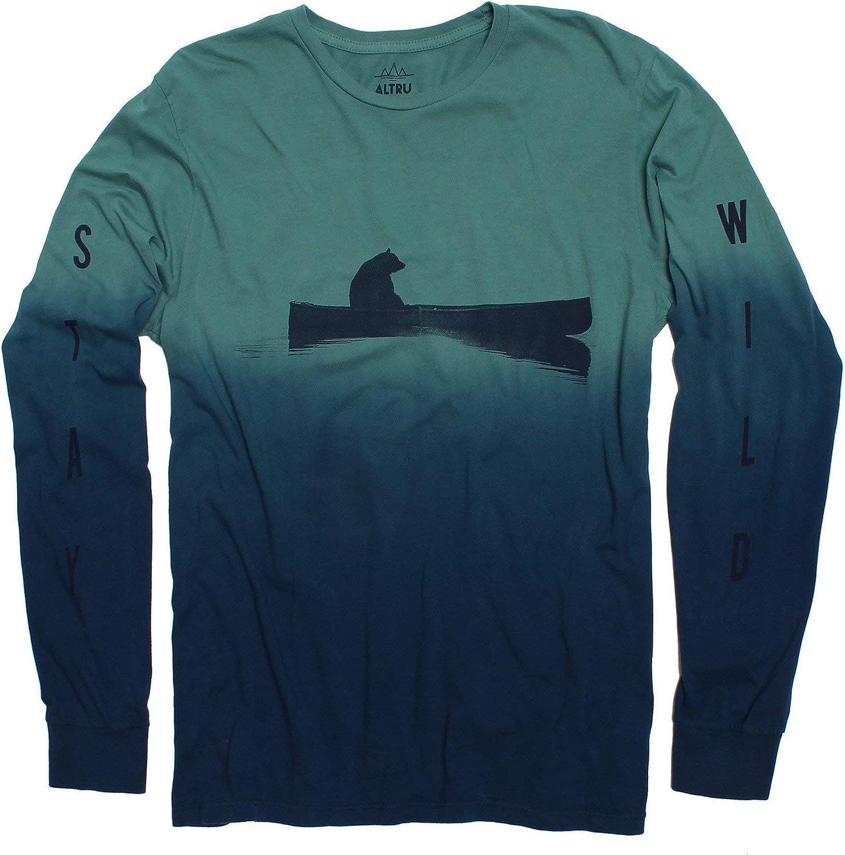 Bear Wild Men's dip-dye Long Sleeve Graphic Fashion T-Shirt