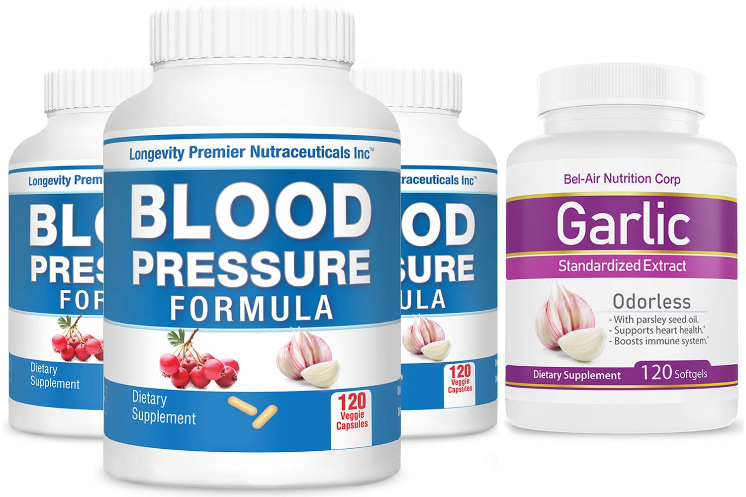 [3-Bottle Bonus Pack] Longevity Blood Pressure Formula 120 caps x 3 Bottles with 1 Free Bottle of Garlic Extract [120 softgels]