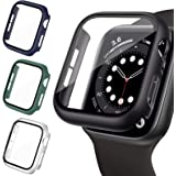 LORDSON 4 Pack Hard PC Case Compatible with Apple Watch SE/Series 6/5/4 44mm, Matte Bumper Case with Tempered Glass Screen Pr