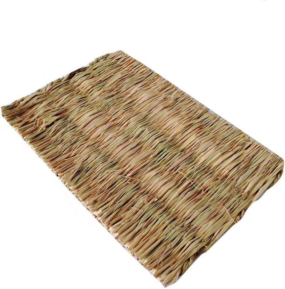 Sootop - Alfombra de cama, juguete para masticar para mascotas, alfombra de heno tejida de lana natural, nido de conejo para cobaya, loro, conejo, hámster Rat