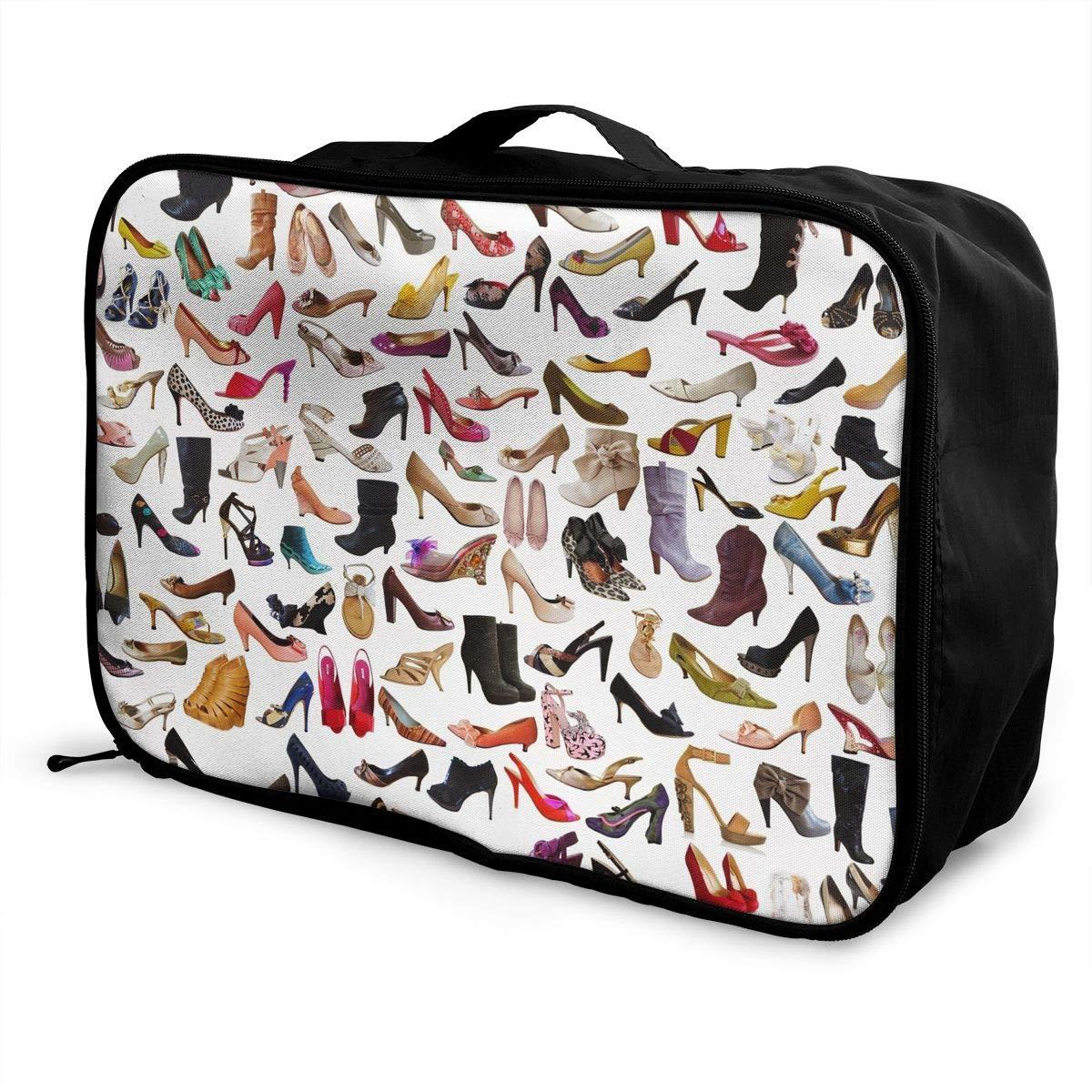 Travel Luggage Duffle Bag Lightweight Portable Handbag High Heeled Shoes Print Large Capacity Waterproof Foldable Storage Tote