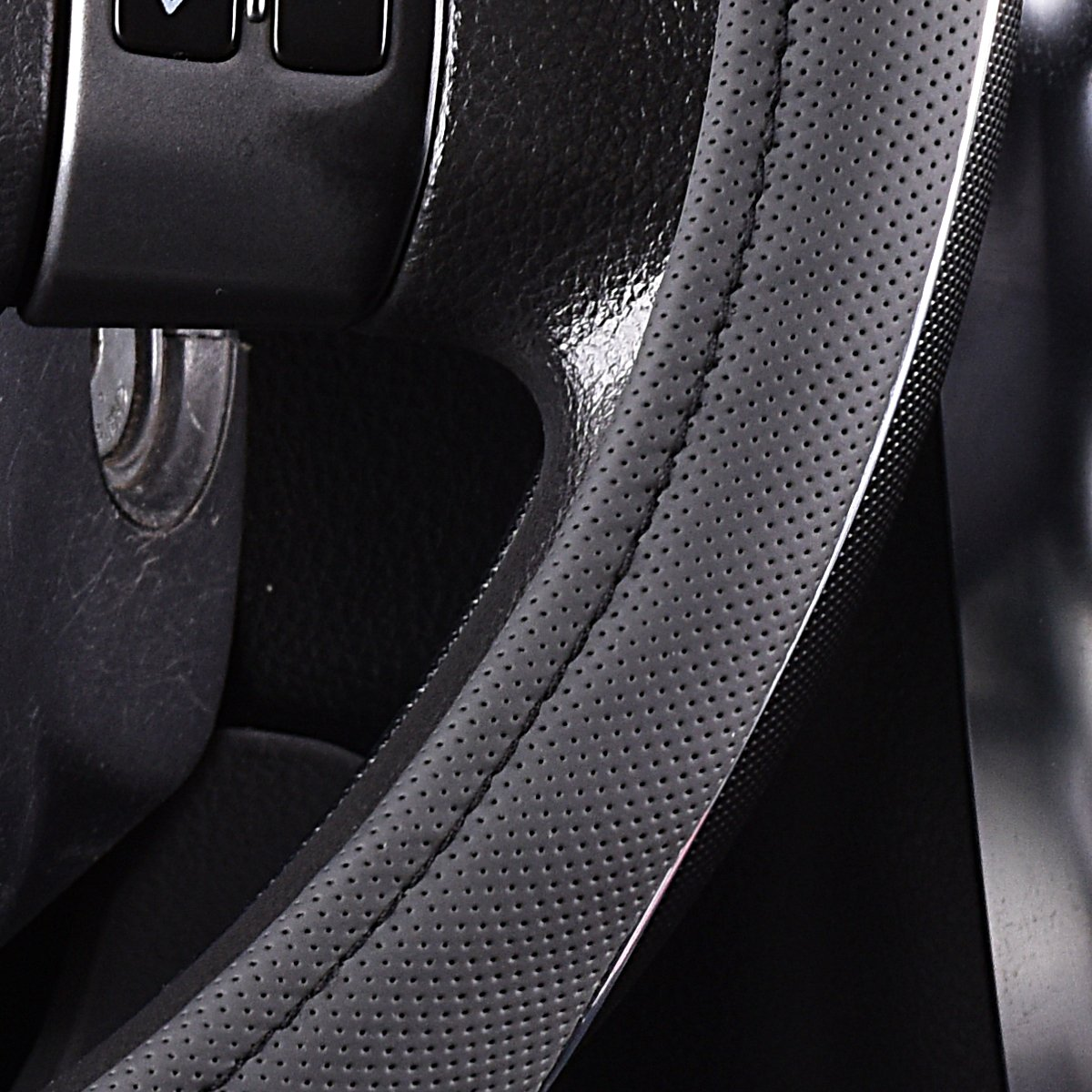 CAR PASS PVC Leather Rainbow Universal Fit Steering Wheel Cover/£/¨Gray/£/©