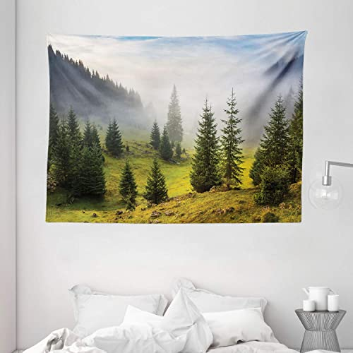 Ambesonne Forest Tapestry, Fir Trees on Meadow Between Hillsides with Conifer Forest in Fog Before Sunrise, Wide Wall Hanging for Bedroom Living Room Dorm, 80 X 60 , Gray Green