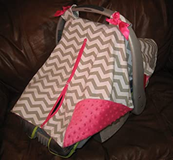 Carseat Canopy Chevy Gray White Chevron Minky Infant ????baby Carseat Cover Fabric Car Seat Accessories Car Safety Seats