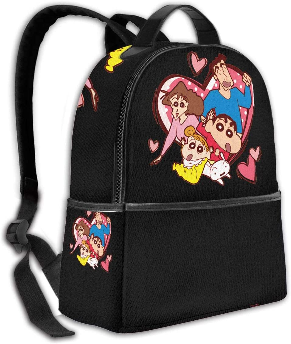 Basic Casual Day Backpack with Bottle Side Pockets Crayon Shin-Chan Lightweight Backpack