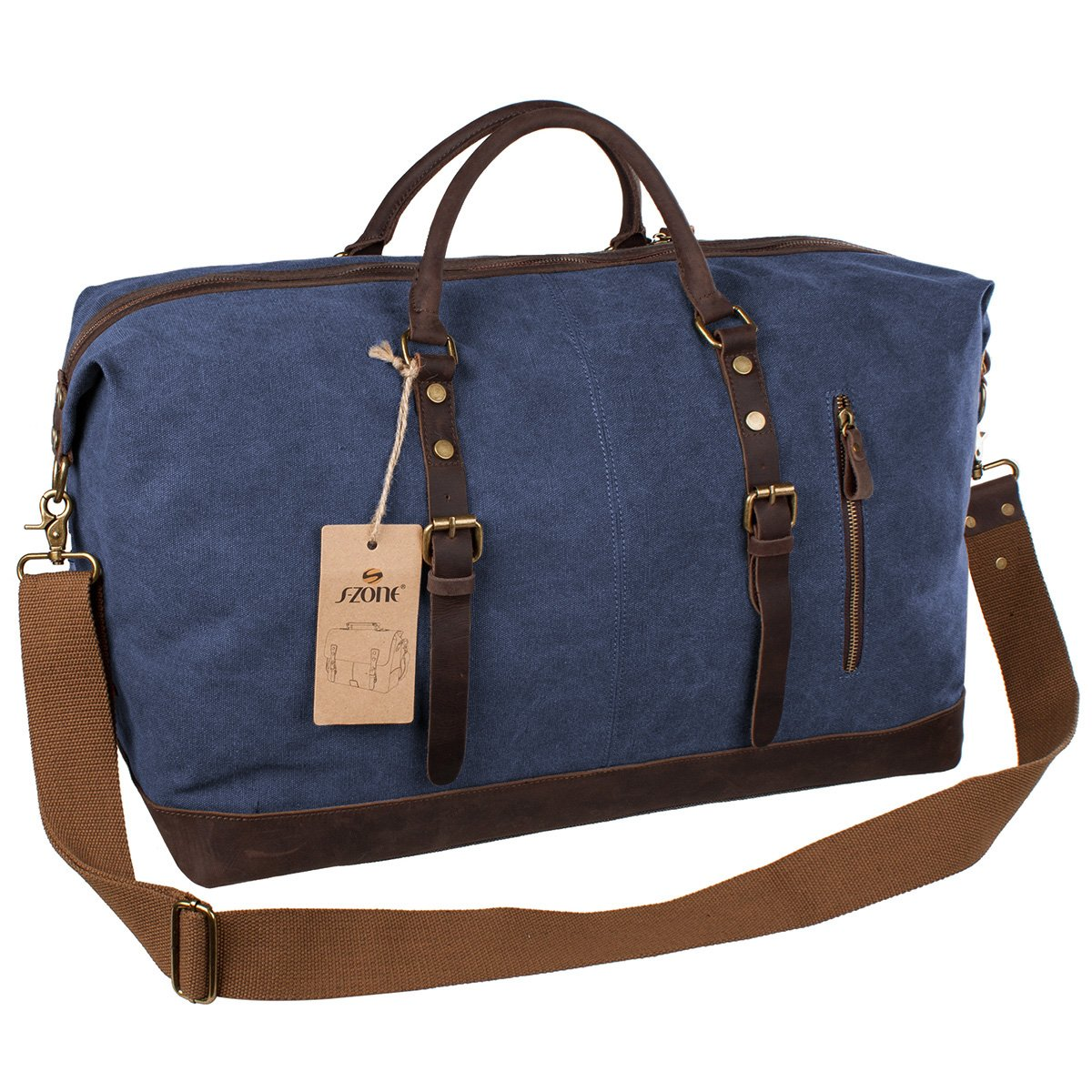 c39af827b46b S-ZONE Mens Canvas Leather Holdall Travel Duffle Overnight Weekend Satchel Totes  Bag Handbags (Blue)  Amazon.co.uk  Luggage