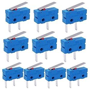 Twidec /10Pcs Mini Micro Limit Switch 5A 125 250V AC SPDT 1NO Short Lever Arm Switch Snap Action Button Type 2 Pins KW11-3Z08