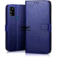 SHINESTAR PU Leather Flip Wallet Case with TPU Shockproof Cover for Samsung Galaxy M30s (Blue, Samsung Galaxy M30s)