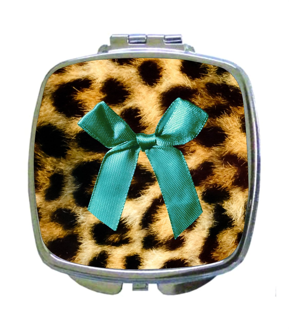 Blue Bow/Ribbon Print on Leopard Skin Animal Print - Compact Mirror in Silvertone - Square Shaped - Pocket Sized