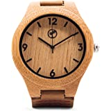 Wooden Watch for Men by Tree People: Bamboo Wood Case, Genuine Cowhide Leather Watch Strap, Miyota Quartz Movement