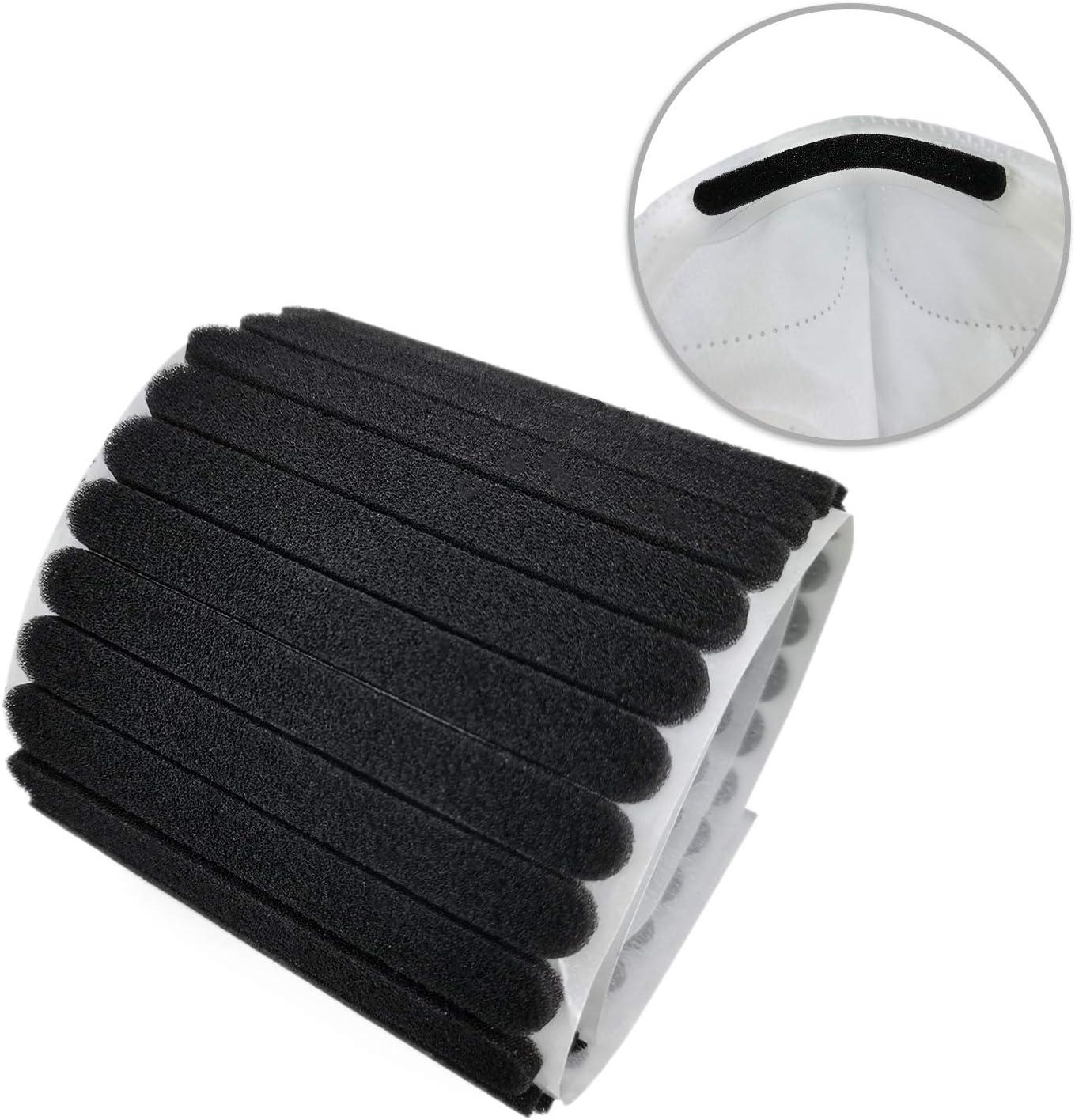 HUIJINTAO Almohadilla para puente de nariz, almohadilla antivaho para protección de banda para manualidades hechas a mano, costura con adhesivo en la parte posterior, negro
