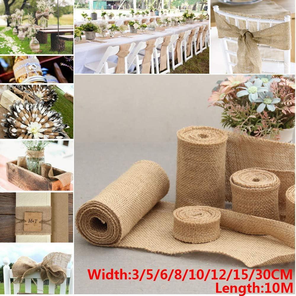 3cm Amiaodz 10 m 8 Gr/ö/ßen DIY Basteln Home Decor Hochzeit Dekoration Geschenkpackung Geschenkband Rolle Juteband Beutel Verpackung