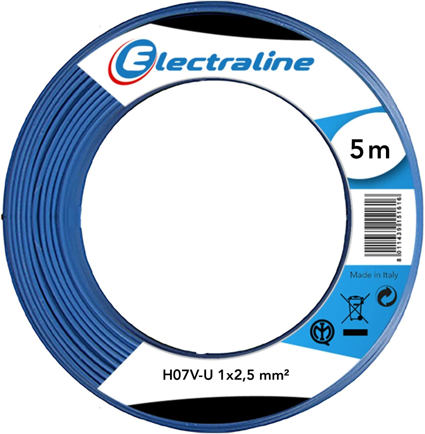 Electraline 60101013D L/änge 5 m Kabel H07V-U Abschnitt 1x1,5 mm/² Schwarz