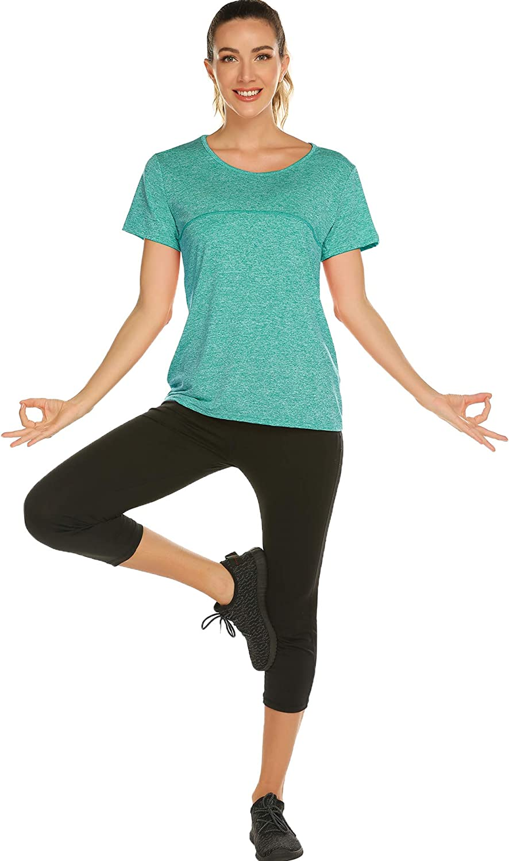 iWoo Womens Yoga Tops Activewear Running Workouts T-Shirt Cross Back Sports Shirts Women Yoga Shirt