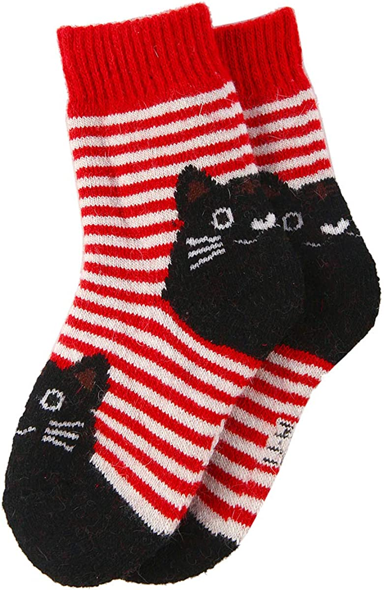 Boy Girl Kids Toddler Thick Thermal Warm Wool Cotton Winter Crew Socks 5 Pack