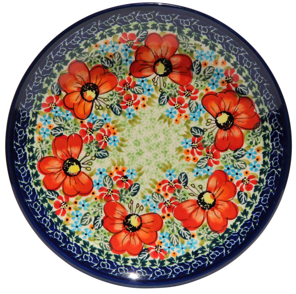 Polish Pottery Plate 7.5 Inch From Zaklady Ceramiczne Boleslawiec #Gu-814-296 Art Signature Unikat Pattern, 7.5 Inch Diameter