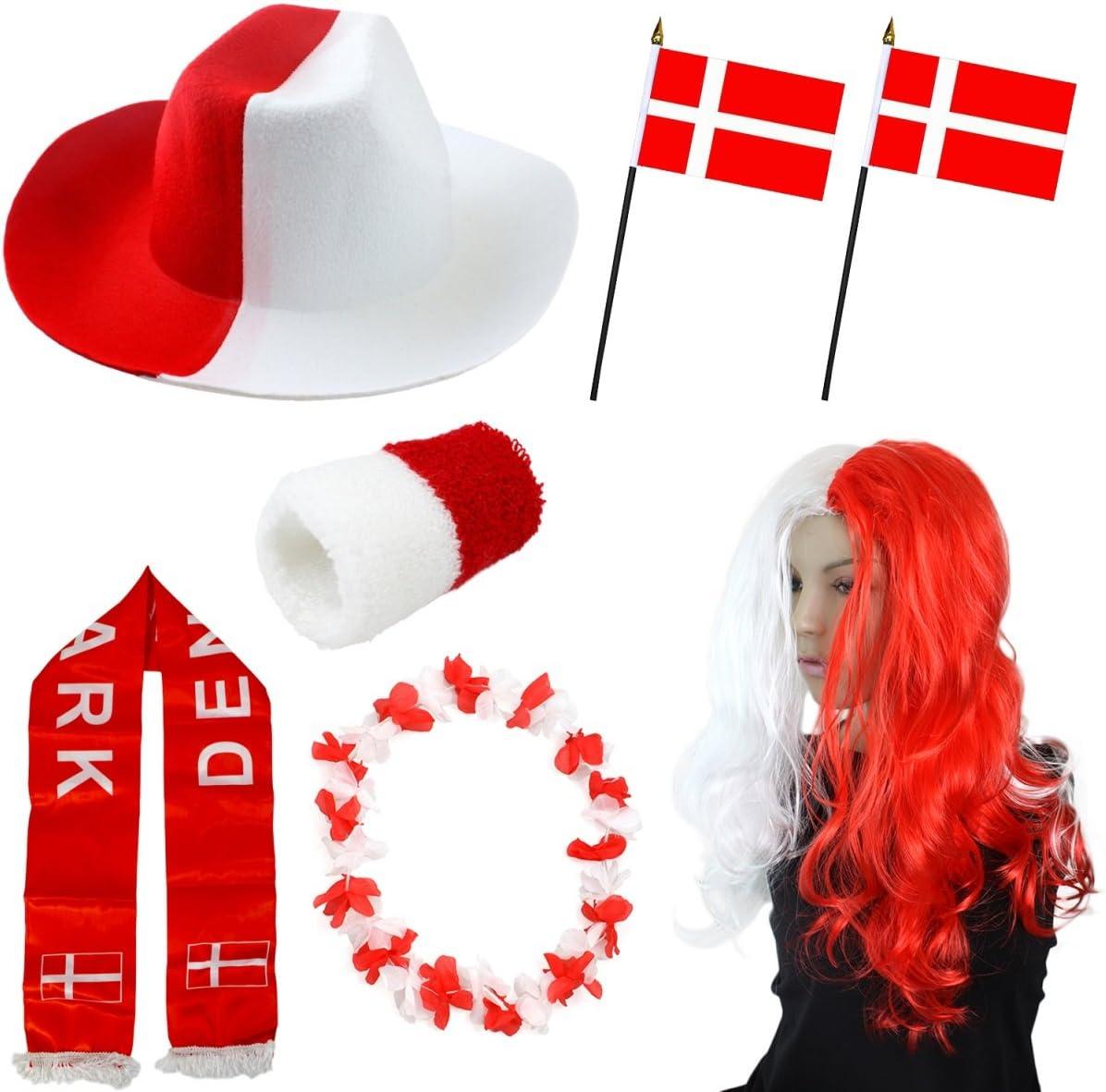 Sonia Originelli Fan-Paket-1 D/änemark WM EM Fu/ßball Fan Anfeuern Party