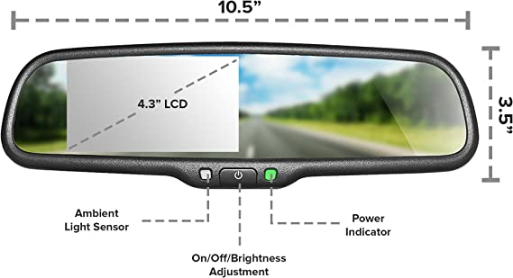 Amazon Com Master Tailgaters Oem Rear View Mirror With 4 3 Lcd Screen And Waterproof 170 Backup Camera Kit Car Electronics