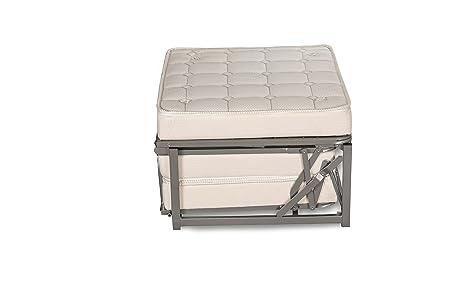 EvergreenWeb - Puf cama individual con colchón Plegable para Invitados, 10 cm de altura - Cama individual ahorra espacio - Tela de algodón, satén de Metal, ...