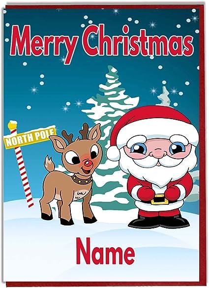 Renne Di Babbo Natale Nomi.Personalizzato Per Bambini Biglietto Natalizio Babbo Natale E Renne Qualsiasi Nome Amazon It Casa E Cucina