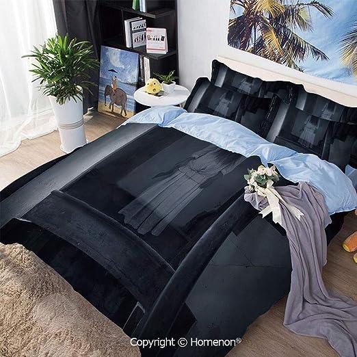 Juego de funda nórdica de 3 piezas Juego de cama, paisaje de terror Figura de niña