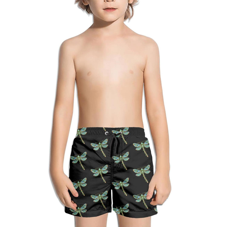 Ouxioaz Boys Swim Trunk Seamless Dragonfly Flower Beach Board Shorts