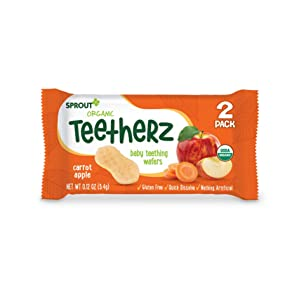 Sprout Organic Teetherz Baby Teething Wafers, Carrot Apple, Box of 30