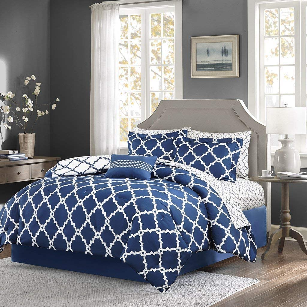 Qutain Linen 6-Piece Bed in A Bag Complete Comforter Set with Free 4 Piece Sheet Set Included - Over Stock Sale (Royal Blue Galaxy, Queen Size)