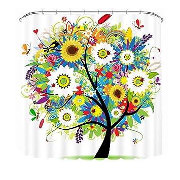 Amazoncom Malicosmile Shower Curtain Tree Design Mildew Resistant