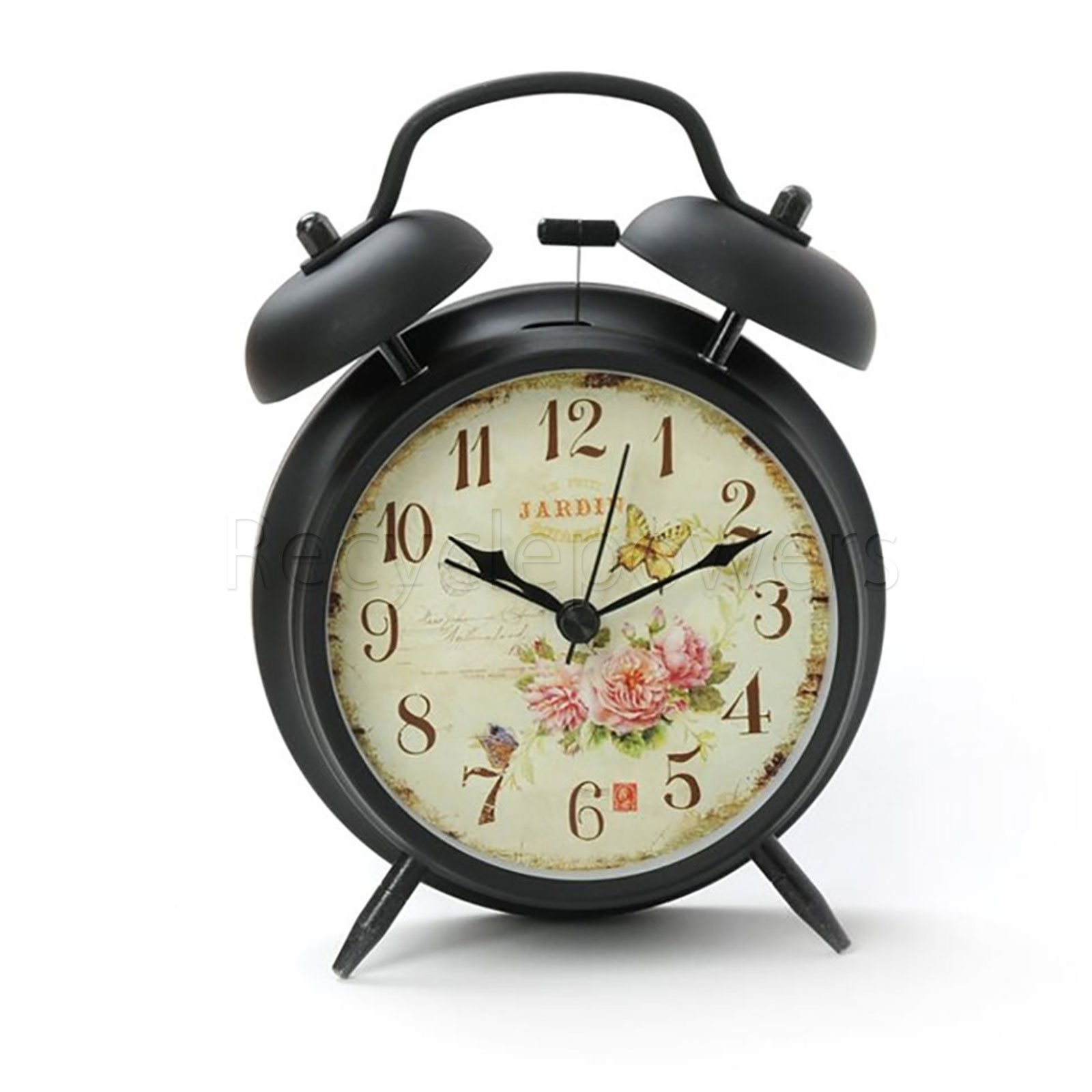 Innolife 4'' Quiet Non-ticking Silent Quartz Analog Retro Vintage Bedside Twin Bell Alarm Clock With Loud Alarm and Nightlight (Butterfly with Flowers)