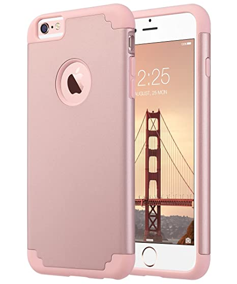 brand new c8838 0816b ULAK Slim Protective Case Compatible iPhone 6 Plus, iPhone 6S Plus Hybrid  Soft Silicone Hard Back Cover Anti Scratch Bumper Case (Rose Gold)
