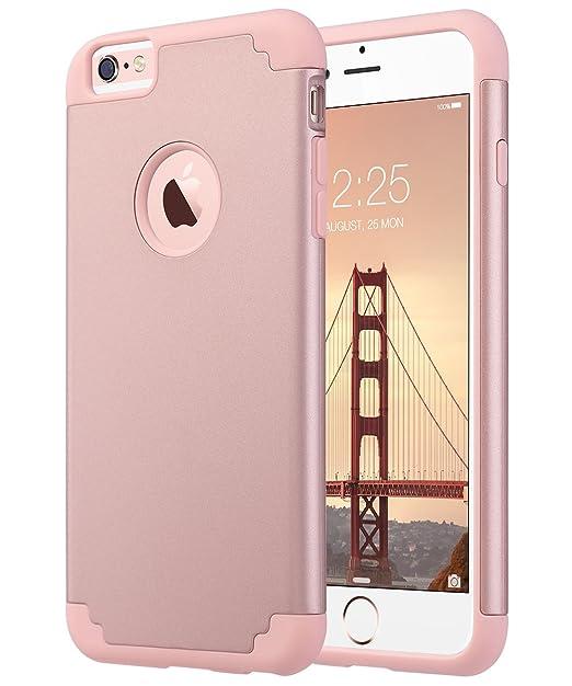 ULAK - Carcasa Protectora para iPhone 6 Plus, iPhone 6S Plus, Silicona Suave híbrida, Carcasa rígida antiarañazos (Oro Rosa)