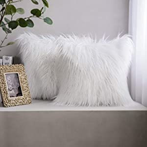 Phantoscope Pack of 2 Faux Fur Pillow Covers Throw Pillows Cases, Luxury Series Plush Cushion Case Mongolian Style, White 18 x 18 inches 45 x 45 cm