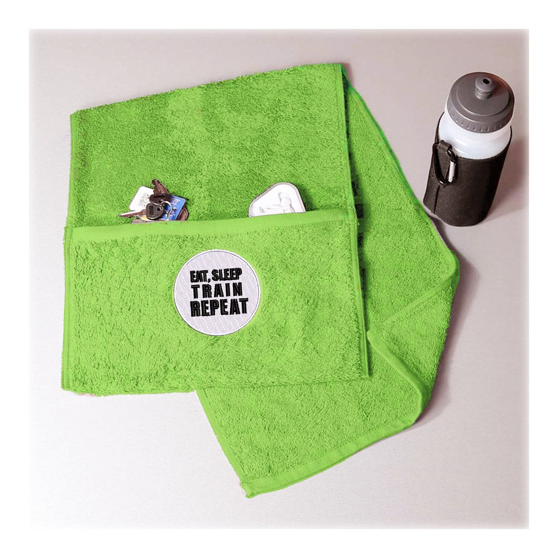 Towelsrus Toalla de gimnasio con cremallera, con la inscripción «Eat, Sleep, Train, Repeat», blanco