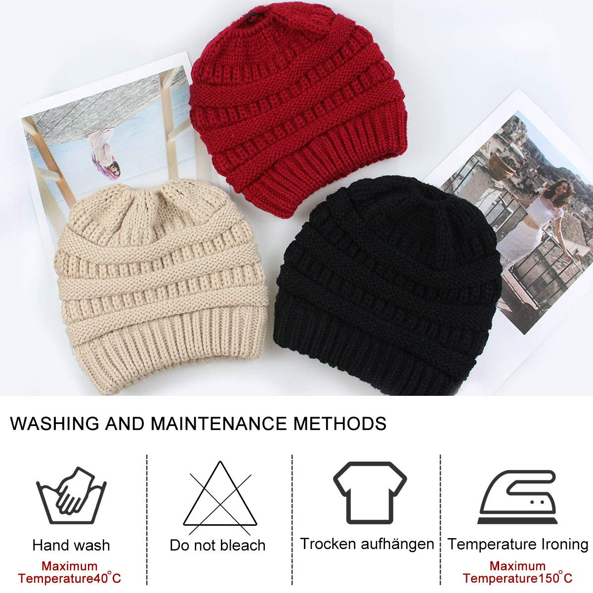 WharFlag Beanie Hat - Women Knit Winter Hat Stretch Ponytail Messy ... 1056e431581f