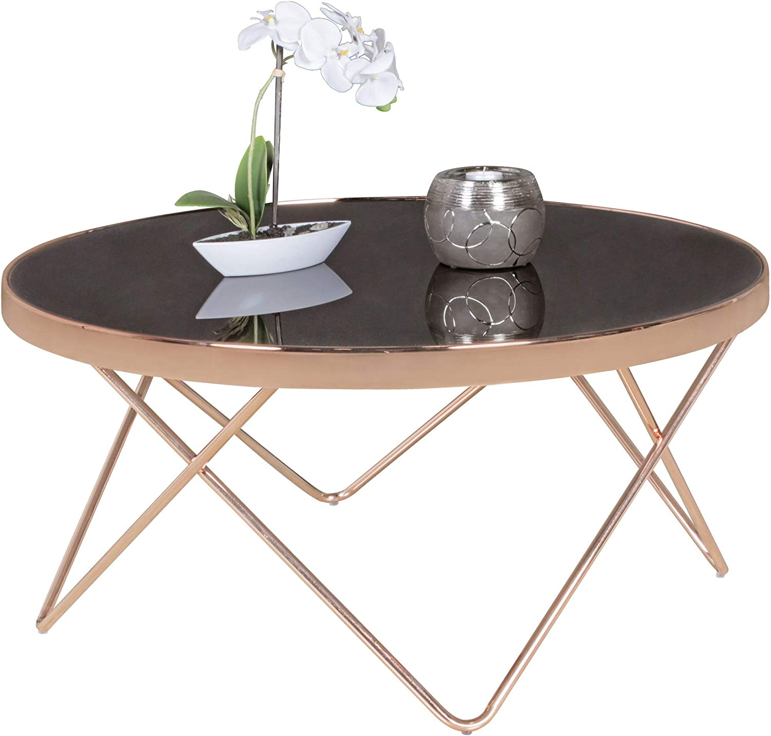 - FineBuy Coffee Table Black/Copper With Glass Top 82 X 39 X 82 Cm
